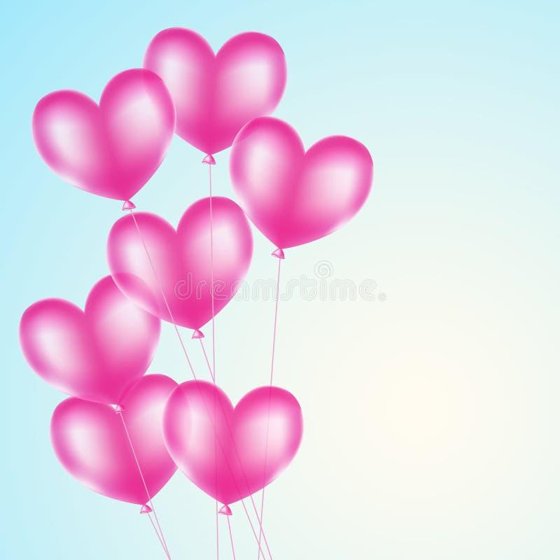 Rosa hjärtaballonger royaltyfri illustrationer