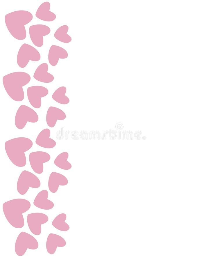 Rosa hjärtagräns vektor stock illustrationer