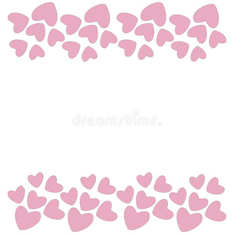 Rosa hjärtagräns vektor vektor illustrationer