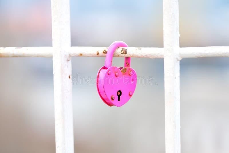 Rosa hjärtalås på ett vitt staket royaltyfria foton