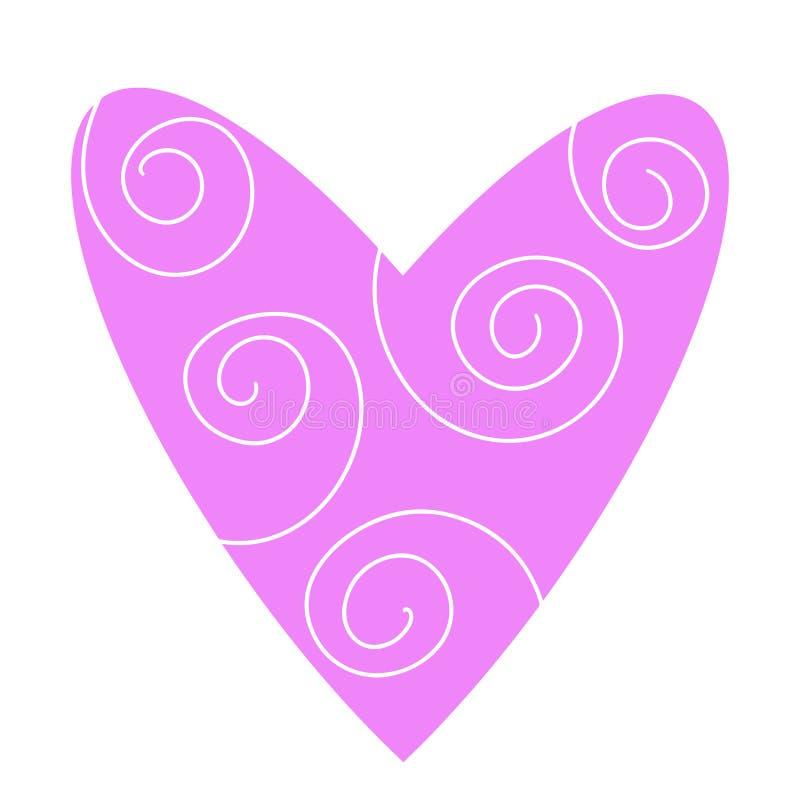 Rosa hjärtalinje konstlogo med spirala vågor Gullig medicinsymbol Virvellinjer undertecknar förälskelsehjärta Plan stil för moder vektor illustrationer