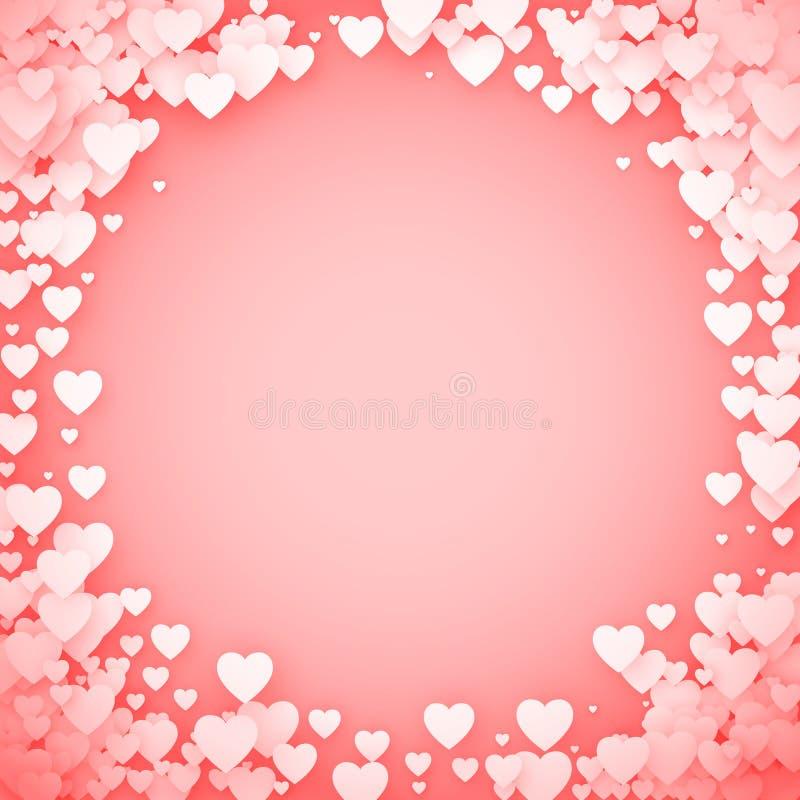 Rosa hjärtaram Hjärtakonfettiram Hjärta för två rosa färg också vektor för coreldrawillustration stock illustrationer