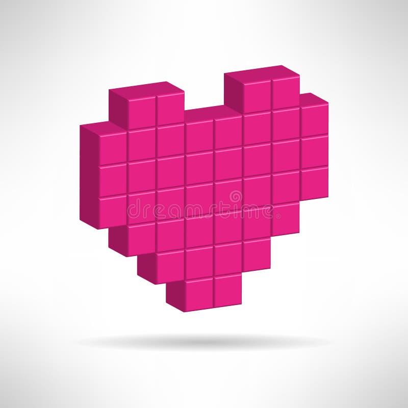 Rosa hjärtasymbol i special PIXELlägenhetdesign royaltyfri illustrationer