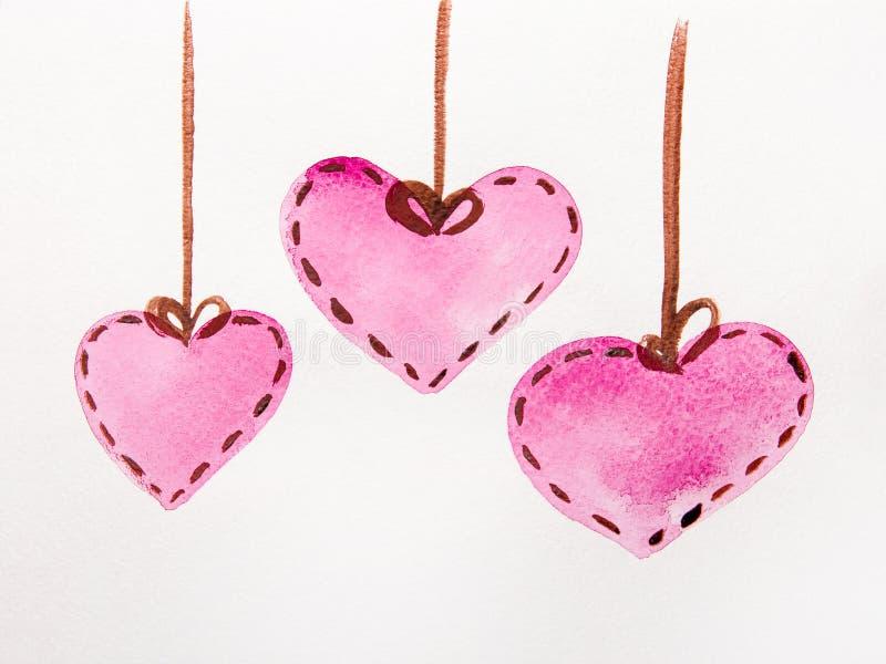 Rosa hjärtavattenfärg stock illustrationer