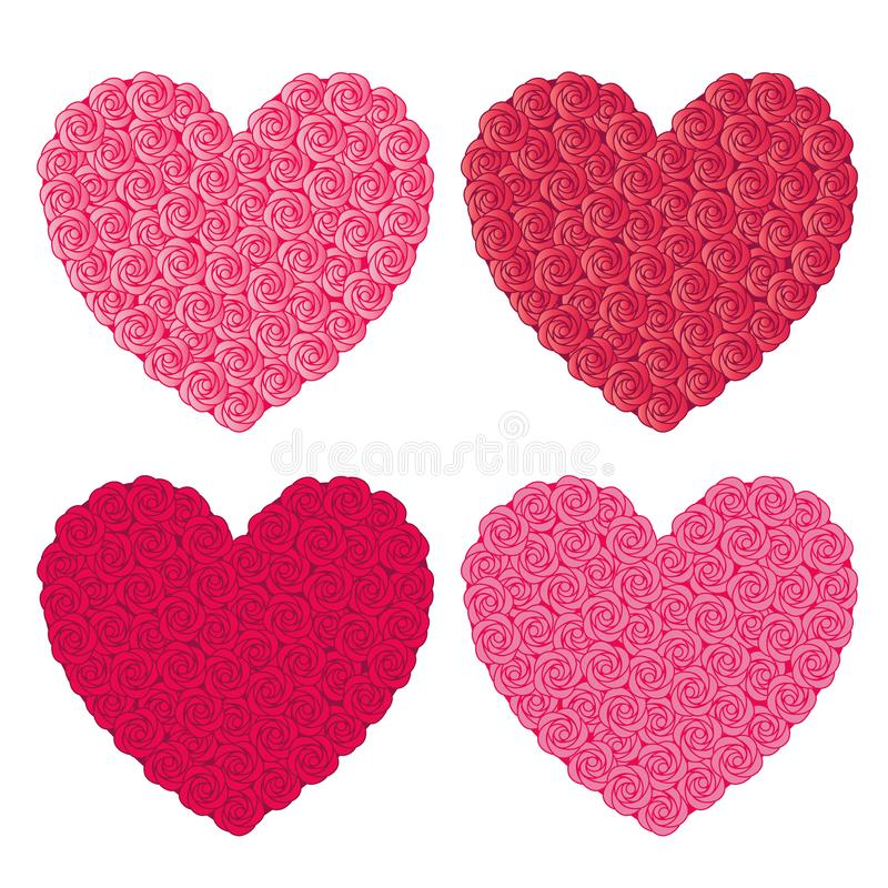 Rosa hjärtor royaltyfri illustrationer