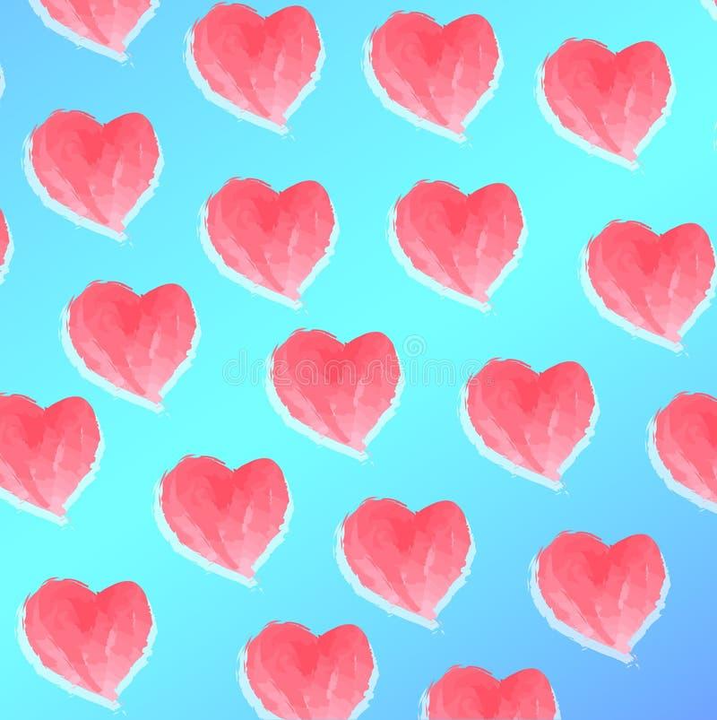 Rosa hjärtor för vattenfärg på blå bakgrund stock illustrationer