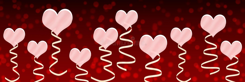 Rosa hjärtor och band i röd bakgrund stock illustrationer