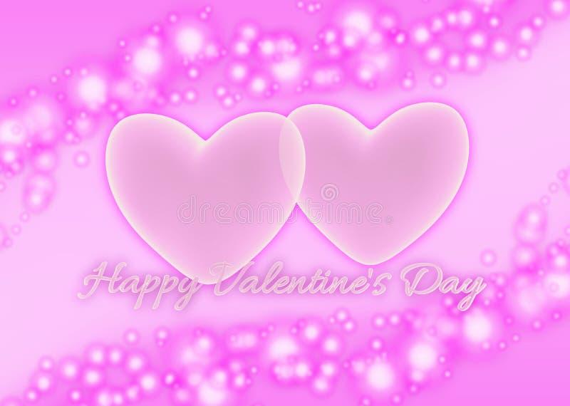 Rosa hjärtor och lyckliga valentin för text dag royaltyfri illustrationer