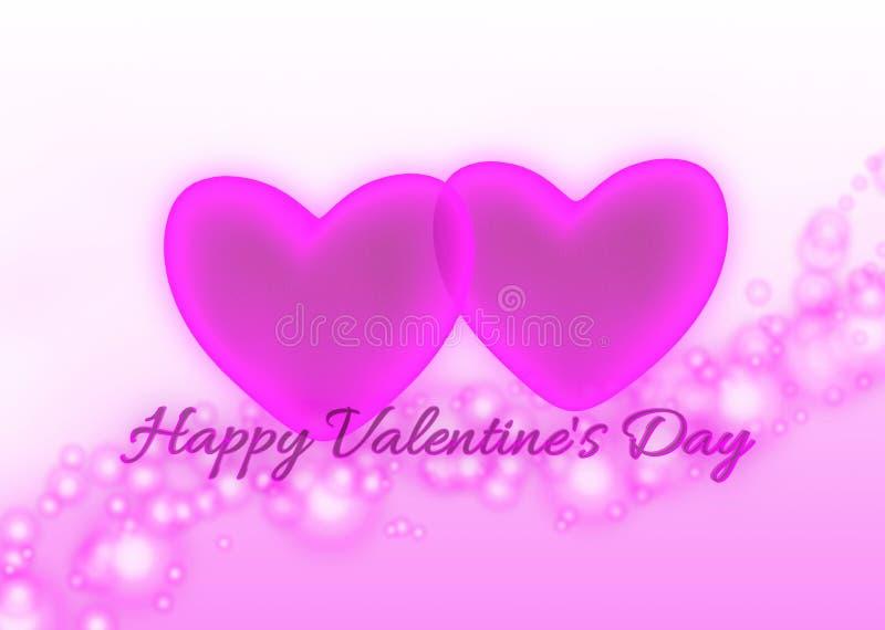Rosa hjärtor och lyckliga valentin för text dag vektor illustrationer