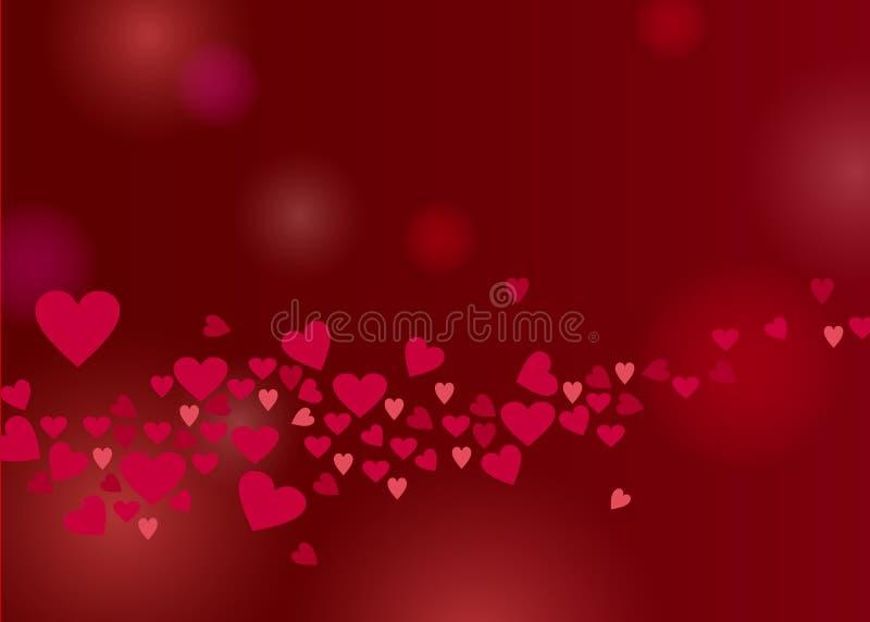 Rosa hjärtor strömmar gränsen på mörk vinbakgrund royaltyfri illustrationer