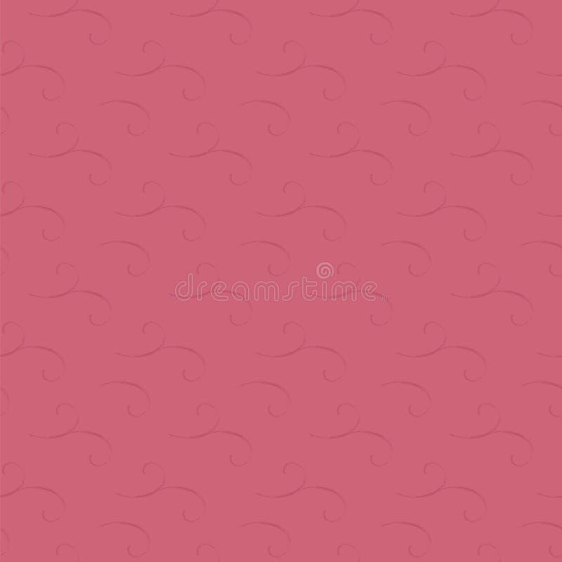 Rosa Hochrot färbte helles kaltes mädchenhaftes nahtloses mit Blumenmuster von schäbigen Spiralen des Farbstrudelvektors lizenzfreie abbildung