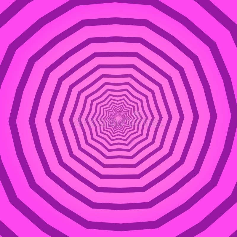 Rosa idérik geometrisk fyrkantig bakgrund med den polygonal modellen Bakgrund med psykedelisk roterande effekt, tunnel eller stock illustrationer