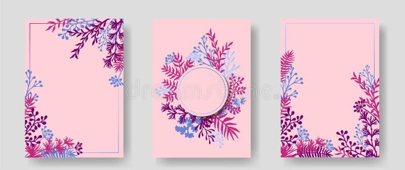 Rosa inbjudankort med växt- fattar filialer vektor illustrationer