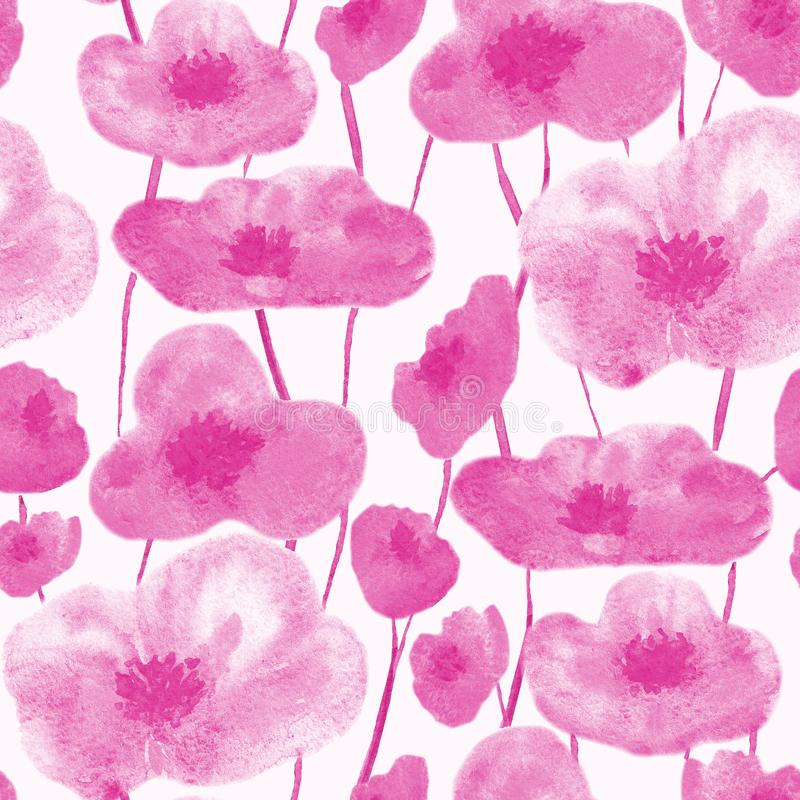 Rosa inconsútil del modelo de las amapolas stock de ilustración