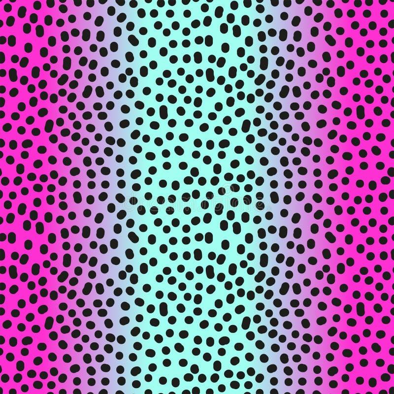 Rosa inconsútil moderno de la pendiente al modelo azul del leopardo en estilo de 80s 90s ilustración del vector