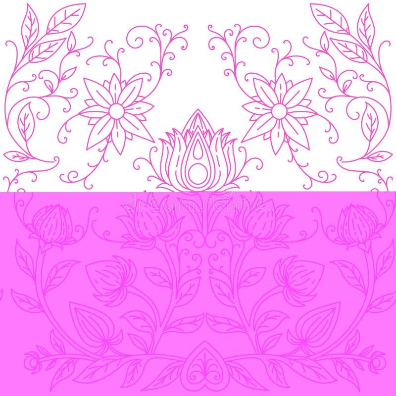 Rosa iriers för sömlös modell på vita blått-lilor en backgroundSymmetrical modell av blommor Tryck för textiler vektor royaltyfri illustrationer