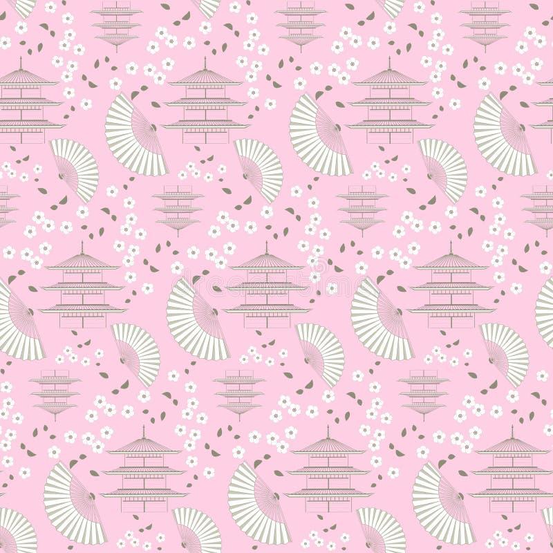Rosa japanska bevekelsegrunder stock illustrationer