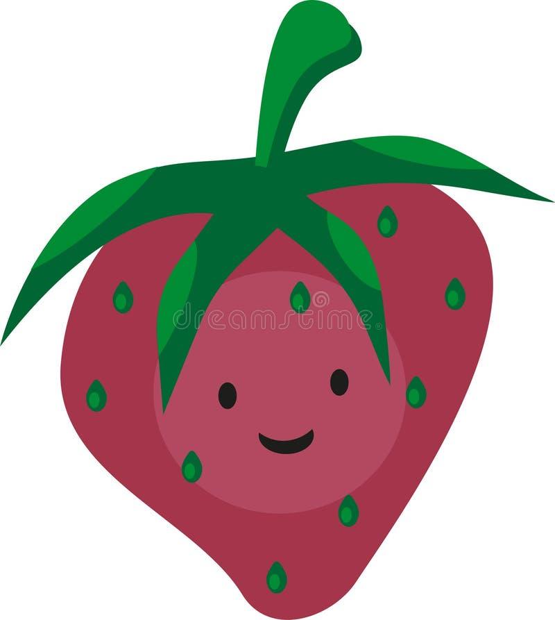 Rosa jordgubbe för rolig smyleytecknad film med ögon vektor illustrationer