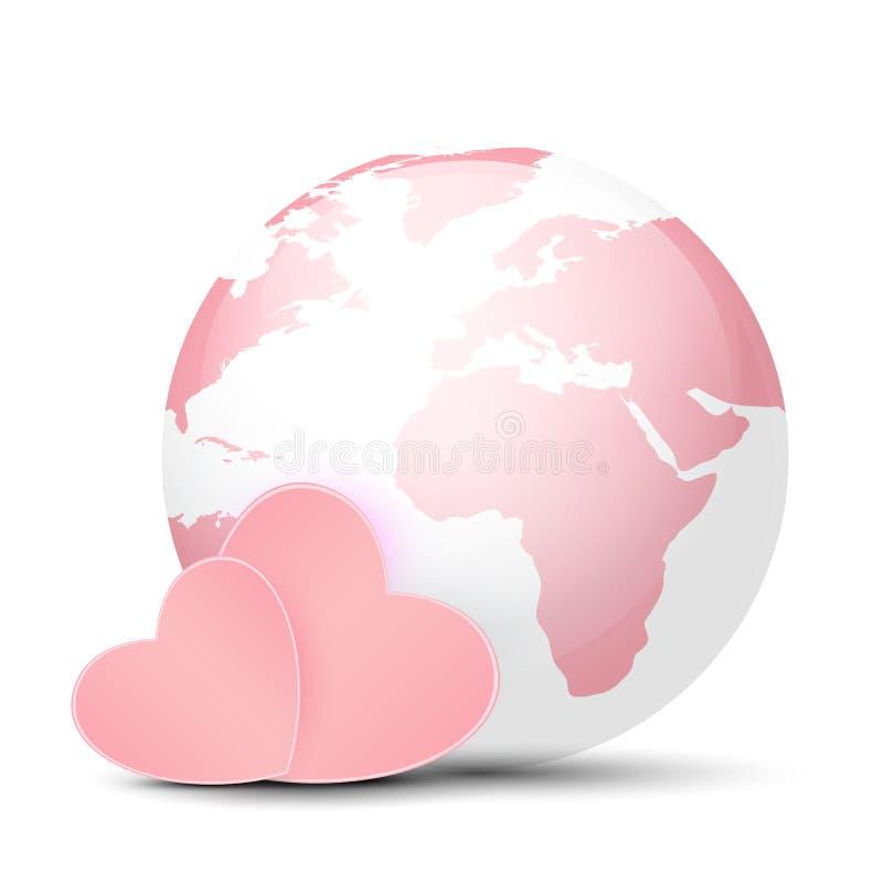 Rosa jordklot och hjärtor vektor illustrationer