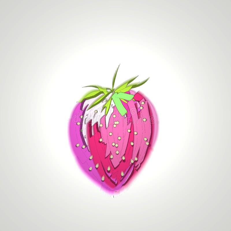 Rosa jugoso del icono de la fruta de la baya de la fresa del arte de Digitaces libre illustration
