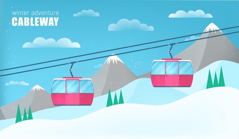 Rosa kabelbilar som flyttar sig ovanför jordningen mot vinterlandskap stock illustrationer