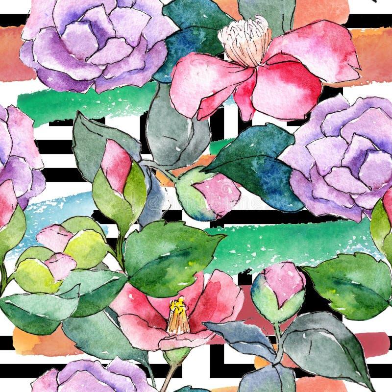 Rosa Kamelie Botanische mit Blumenblume Nahtloses Hintergrundmuster vektor abbildung