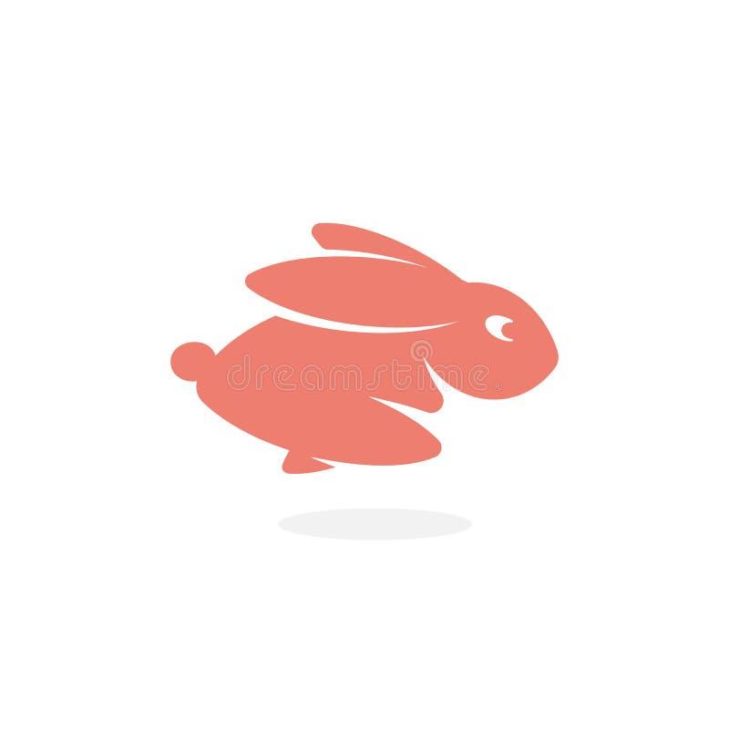 Rosa Kaninchen, Hasen schnell vorwärts laufen lassend, springendes Häschen Ikone des wilden Tieres Einfache Schattenbildlogoschab vektor abbildung