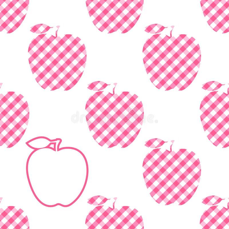 Rosa karierte Zusammenfassung Vektor-Apples Nahtloses Muster mit Apfelkontur des Akzents einer lokalisiert auf weißem Hintergrund stock abbildung