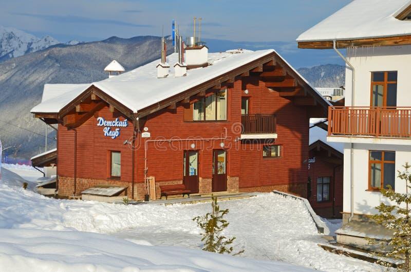 Rosa Khutor, Sochi, Russia, January, 26, 2018. Kids club in the Olympic village on ski resort Rosa Khutor stock photography