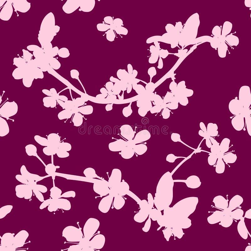 Rosa Kirsch-Kirschblüte-Blume blüht nahtloses Muster vektor abbildung