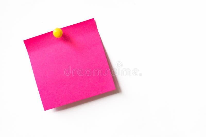 Rosa klebrige Anmerkung lizenzfreies stockbild