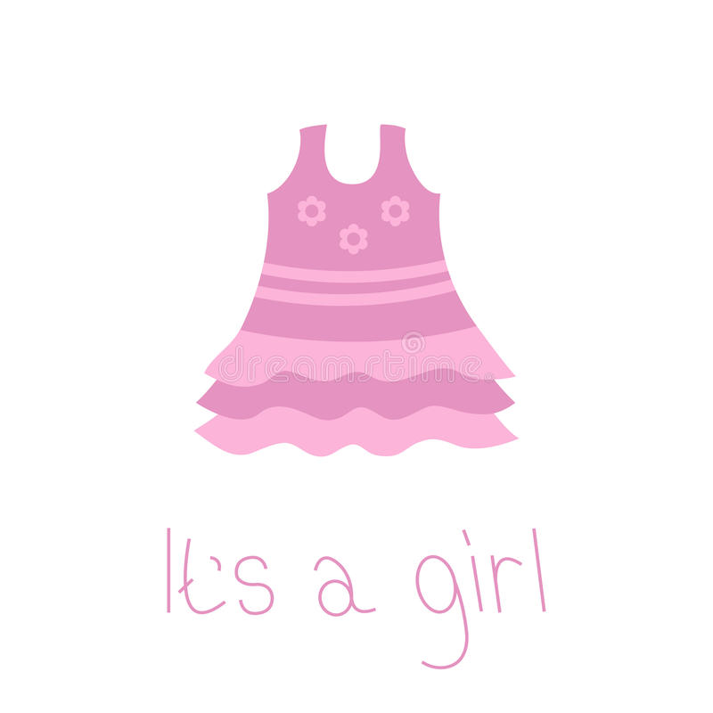 Rosa Kleid mit Gänseblümchenkamillenblumen neugeborene Karte für Jungen Sein ein Mädchen Flache Designart glückliches neues Jahr  lizenzfreie abbildung