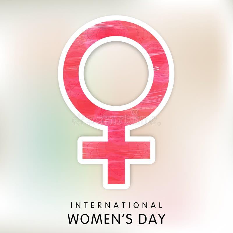 Rosa klibbigt för internationella kvinnors dagberöm royaltyfri illustrationer