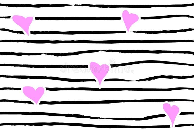 Rosa konfettihjärta på randig bakgrund seamless förälskelsemodell Hand målade svarta borsteslaglängder på vit Valentindagemo vektor illustrationer