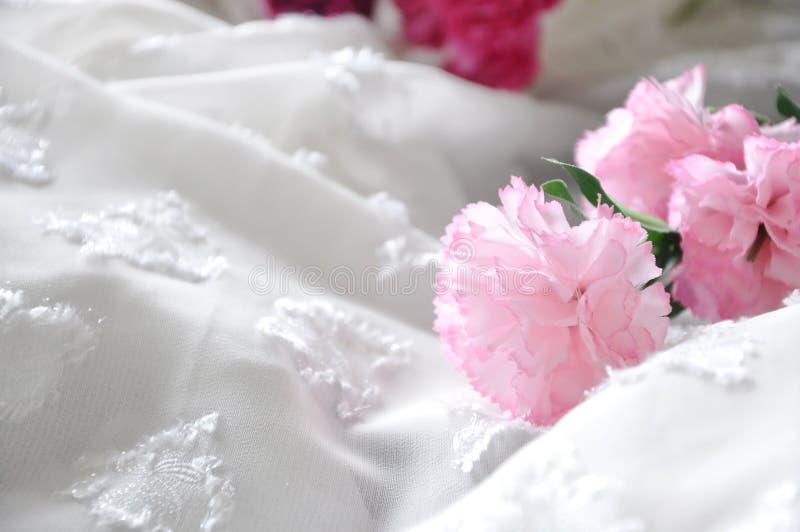 Rosa konstgjord nejlika på vit chiffong royaltyfria bilder