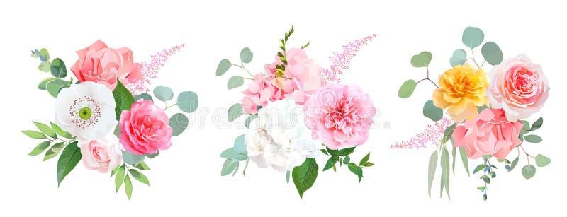 Rosa-, korallenrote und Gelberose, weiße Hortensie, Gartennelke, Papaver stock abbildung
