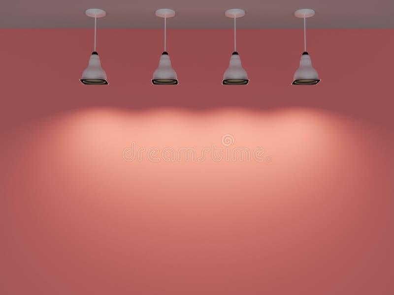 Rosa korallväggar för tomt rum och ies-fläckljus 3d framför royaltyfri fotografi