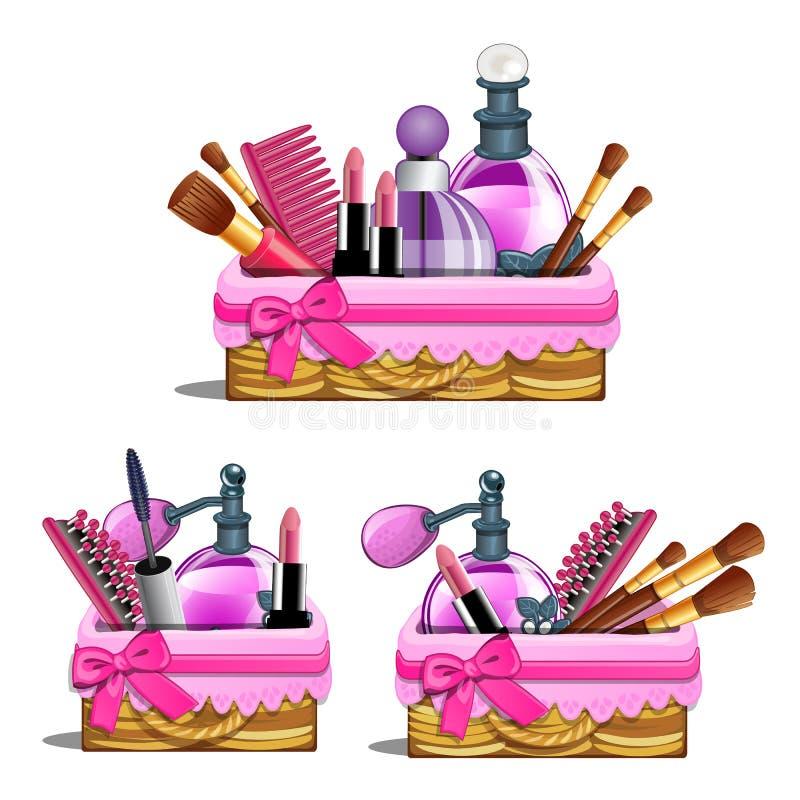Rosa korg - skönhetsmedlet borstar, läppstift, doft vektor illustrationer