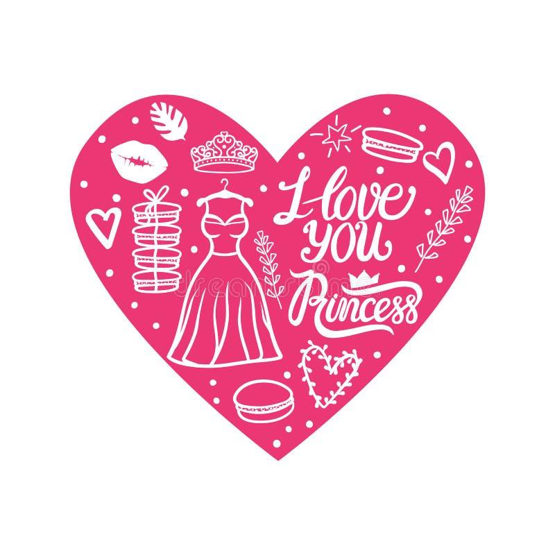 Rosa kort för hjärta Jag älskar dig prinsessan Design för valentindaghälsning Gullig stilklänning med diademen också vektor för c royaltyfri illustrationer