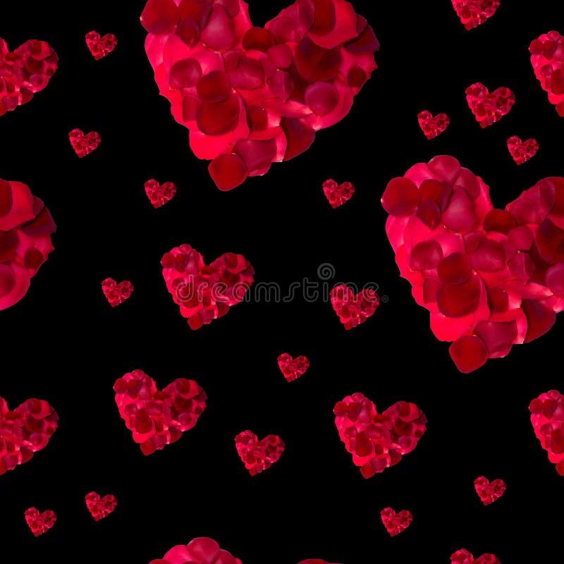 Rosa kronblad för sömlös hjärta för modell röd arkivfoton