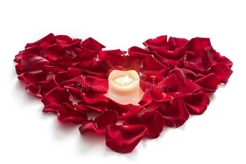 Rosa kronblad i hjärtaform med stearinljuset royaltyfria bilder
