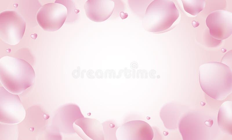 Rosa kronblad och hjärtor som faller på rosa bakgrundsvektorillustration stock illustrationer