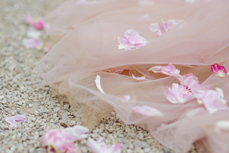 Rosa kronbladlögn på bröllopsklänningen royaltyfria bilder