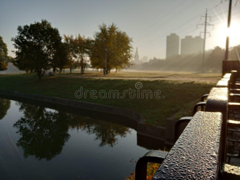 Rosa krople na płotowej pobliskiej rzece, jesień barwią, mgła na wodzie, miasto widok zdjęcie royalty free