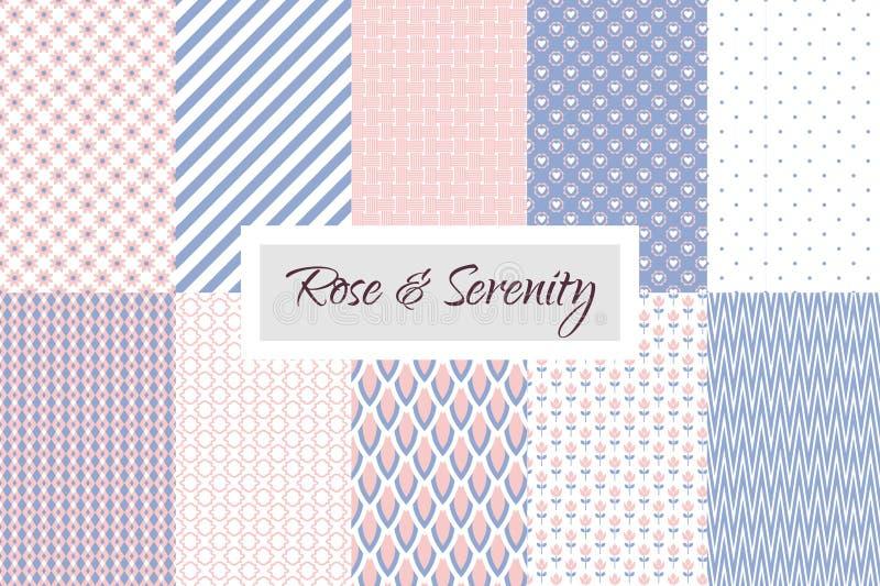 Rosa kvarts och violett geometrisk sömlös modell royaltyfri illustrationer