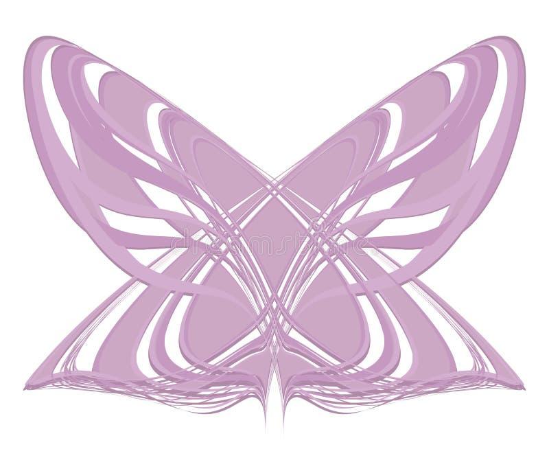 Rosa lila ljus geometrisk fjärilsmal från linjerna av det randiga objektet som isoleras på den vita bakgrunden royaltyfri illustrationer
