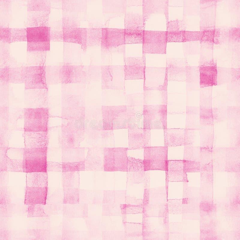 Rosa Linien und Quadrate malten Aquarellmuster stock abbildung