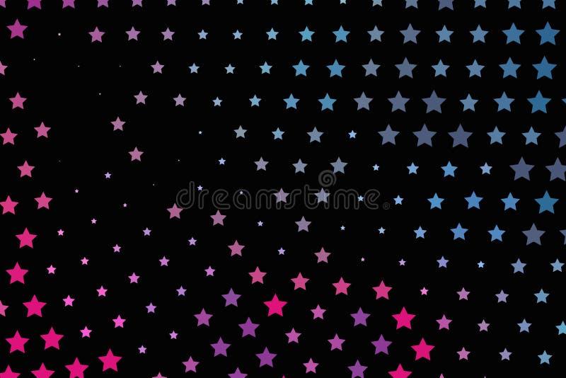 Rosa ljust neon, blåa purpurfärgade stjärnor på en mörk bakgrund Scalable vektordiagram vektor illustrationer