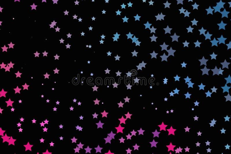 Rosa ljust neon, blåa purpurfärgade stjärnor på en mörk bakgrund Scalable vektordiagram stock illustrationer