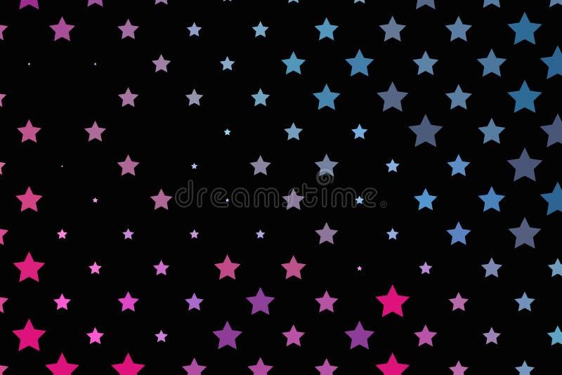 Rosa ljust neon, blåa purpurfärgade stjärnor på en mörk bakgrund Scalable vektordiagram royaltyfri illustrationer